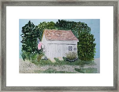 Framed Print featuring the painting Old Barn In Eastham Ma by Donna Walsh