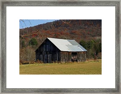 Old Barn In Fall Framed Print by Lois Lepisto