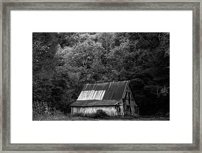 Old Barn In Monochrome Framed Print by Shelby Young