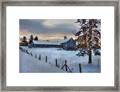Old Barn In Snow At Sunrise Framed Print by Joann Vitali