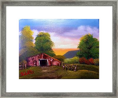Old Barn In The Meadow Framed Print by Dina Sierra