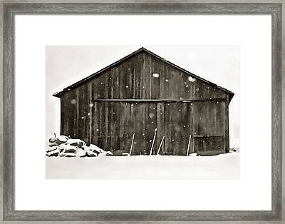 Old Barn In Winter Framed Print by Dan Sproul