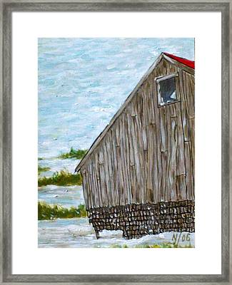 Old Barn In Winter Framed Print by Norman F Jackson