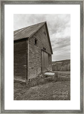 Old Barn Jericho Hill Vermont In Autumn Sepia Framed Print