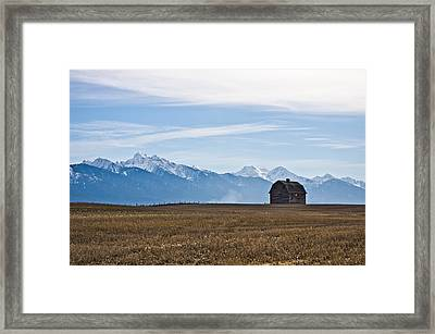 Old Barn, Mission Mountains Framed Print