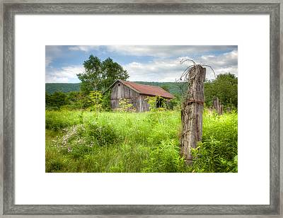 Framed Print featuring the photograph Old Barn Near Stryker Rd. Rustic Landscape by Gary Heller