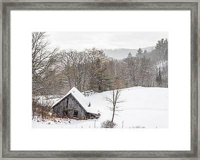 Old Barn On A Winter Day Wide View Framed Print