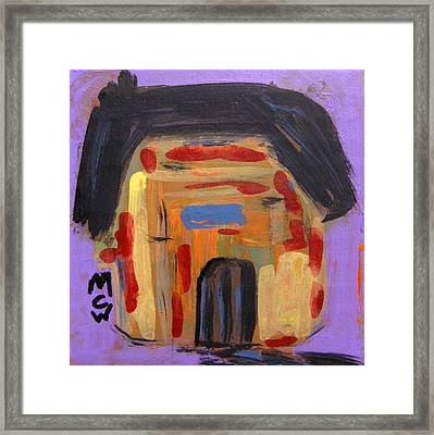 Framed Print featuring the painting Old Barn On Purple by Mary Carol Williams
