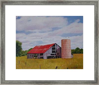 Old Barn Red Roof Framed Print by Marie Dunkley