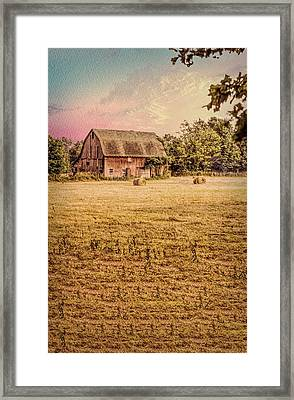 Old Barn With Round Hay Bales Framed Print