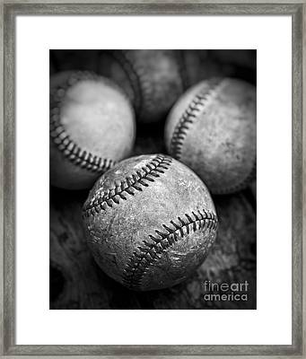 Old Baseballs In Black And White Framed Print