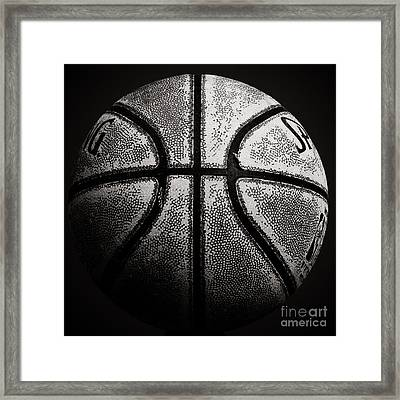 Old Basketball - Black And White Framed Print by Ben Haslam