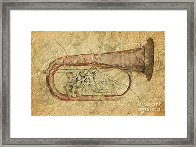Old Battered Trumpet Framed Print by Michal Boubin