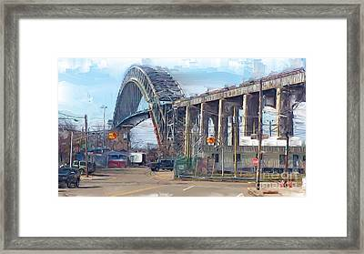 Old Bayonne Bridge Framed Print by Rod Pena