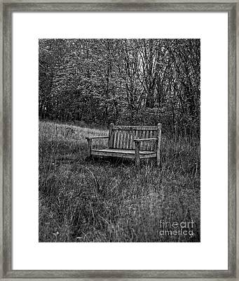 Old Bench Concord Massachusetts Framed Print by Edward Fielding