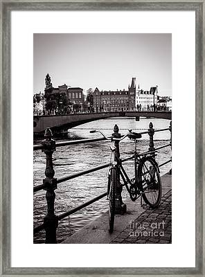 Old Bicycle In Central Stockholm Framed Print
