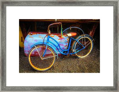 Old Bike In Junkyard Framed Print by Garry Gay