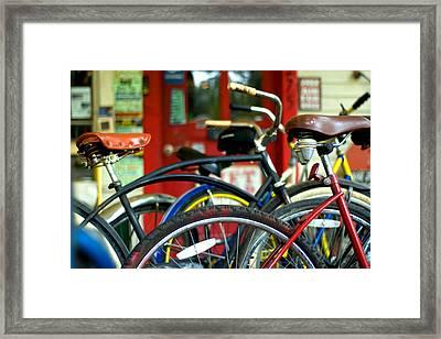 Old Bikes Framed Print by John Gusky