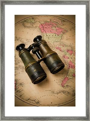 Old Binoculars On Antique Map Framed Print by Garry Gay