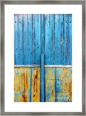 Old Blue Door Detail Framed Print by Carlos Caetano