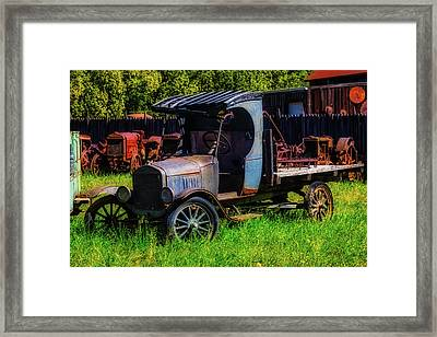 Old Blue Ford Truck Framed Print