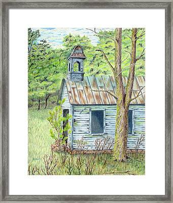 Old Blue School House Framed Print by Belinda Keal