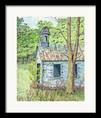 Abandoned School House Drawings Framed Prints