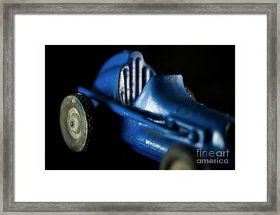 Old Blue Toy Race Car Framed Print by Wilma Birdwell