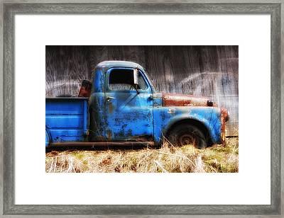 Old Blue Truck Framed Print