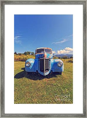 Old Blue Truck Vermont Framed Print by Edward Fielding