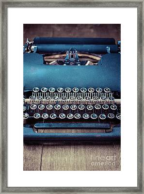 Framed Print featuring the photograph Old Blue Typewriter by Edward Fielding
