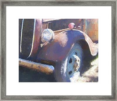 Old Blue Wheel Framed Print