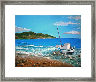 Old Boat At The Beah Framed Print by Kostas Koutsoukanidis