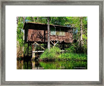 Framed Print featuring the photograph Old Boat House by Barbara Bowen