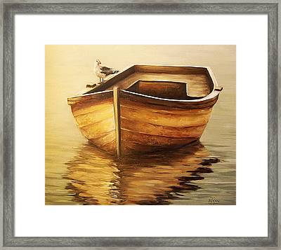 Framed Print featuring the painting Old Boat by Natalia Tejera