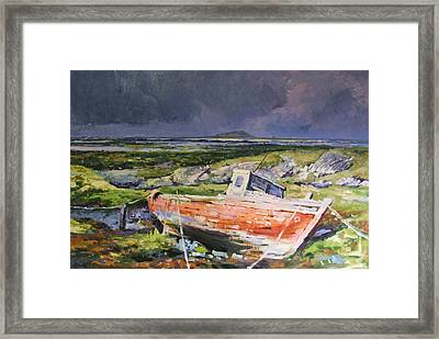 Old Boat On Shore Framed Print by Conor McGuire