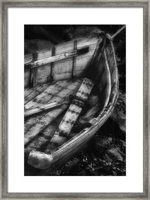 Old Boat Stonington Maine Black And White Framed Print