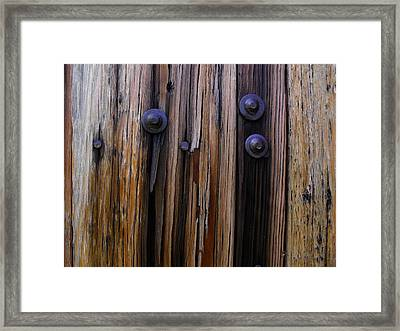Old Door With Bolts And Nails Framed Print