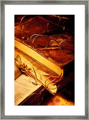 Old Books And Glasses Framed Print by Garry Gay