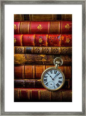 Old Books And Pocket Watch Framed Print by Garry Gay