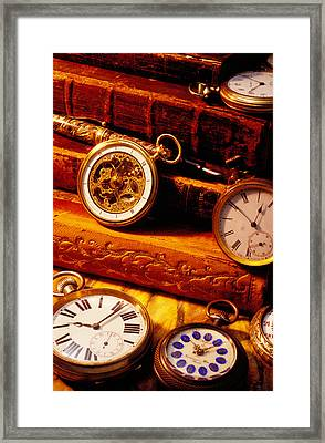 Old Books And Pocket Watches Framed Print by Garry Gay