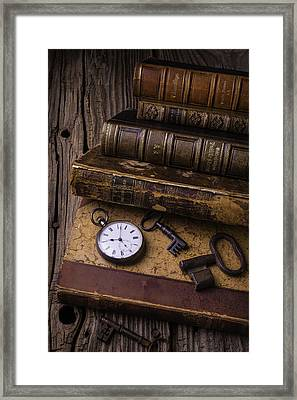 Old Books And Watch Framed Print