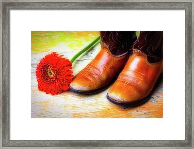 Old Boots And Daisy Framed Print by Garry Gay