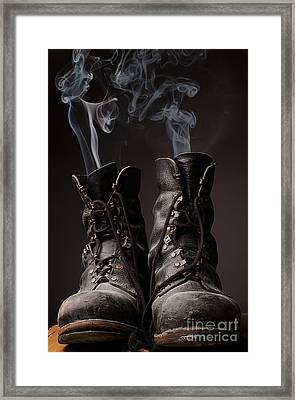 Old Boots With Smoke Framed Print by Andreas Berheide
