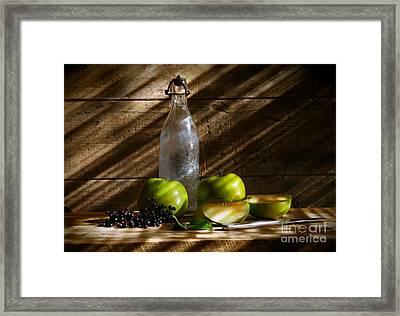 Old Bottle With Green Apples Framed Print