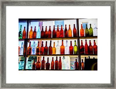 Old Bottles In Window Framed Print by Garry Gay