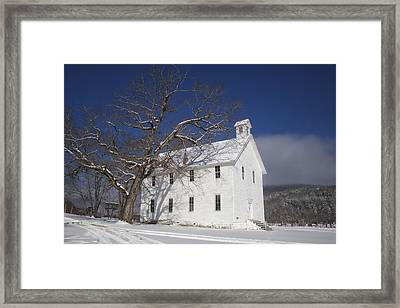 Framed Print featuring the photograph Old Boxley Community Building And Church In Winter by Michael Dougherty