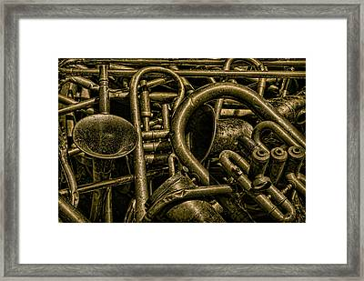 Old Brass Musical Instruments Framed Print