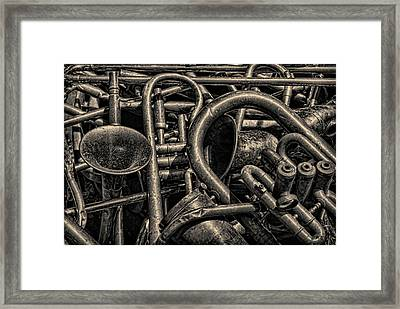 Old Brass Musical Instruments Toned Framed Print
