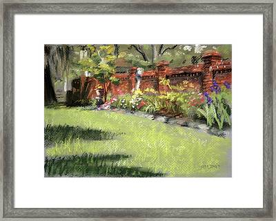 Old Brick Garden Wall Framed Print by Christopher Reid